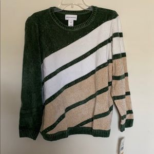 NEW Alfred Dunner Beaded Diagonal Chenille Sweater
